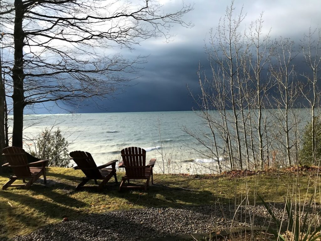 cottage looking out to the storm